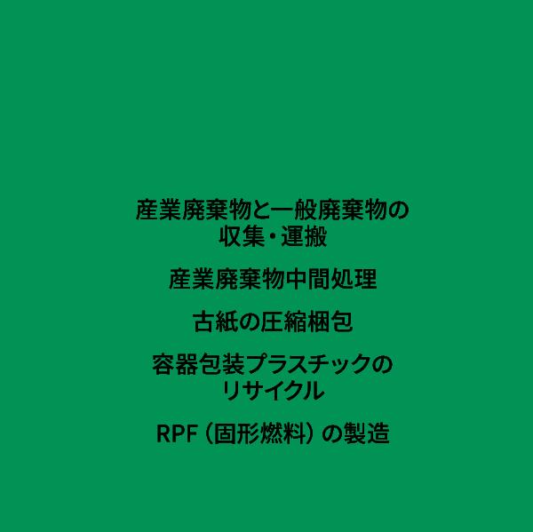 環境事業 産業廃棄物と一般廃棄物の収集・運搬、産業廃棄物中間処理、古紙の圧縮梱包、容器包装プラスチックのリサイクル(固形燃料)の製造
